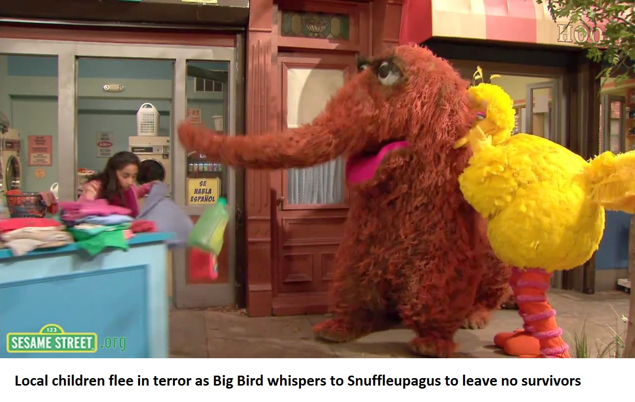 19777777 together with Big Bird And Snuffy also 00694 Sesame Street Oscar The Grouch in addition Constantine also Dont Ever Annoy Big Bird. on snuffleupagus sesame street meme